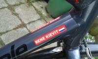 sticker met mijn naam op mijn fiets